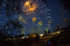 Fireworks over the building. New year's fireworks in St. Petersburg Royalty Free Stock Photo