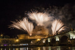 Fireworks over Castel Sant' Angelo, Rome, Italy Stock Photo
