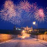 Fireworks over the castle Royalty Free Stock Photos