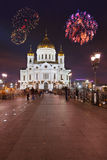 Fireworks over cathedral of Christ the Savior in Moscow Royalty Free Stock Photo