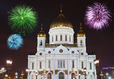 Fireworks over cathedral of Christ the Savior in Moscow Stock Images