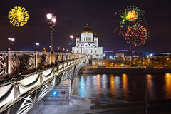 Fireworks over cathedral of Christ the Savior in Moscow Stock Photos