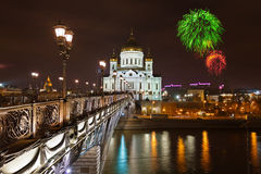 Fireworks over cathedral of Christ the Savior in Moscow Royalty Free Stock Image
