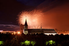Fireworks over the Cathedral of Kant Stock Photo