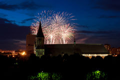 Fireworks over the Cathedral of Kant Stock Image
