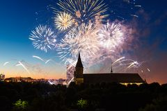 Fireworks over the Cathedral of Kant Stock Images