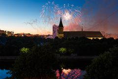 Fireworks over the Cathedral of Kant. Fireworks over the cathedral on the island of Kant, Kaliningrad, Russia Royalty Free Stock Image