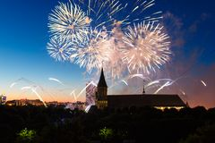 Fireworks over the Cathedral of Kant. Fireworks over the cathedral on the island of Kant, Kaliningrad, Russia Stock Photography