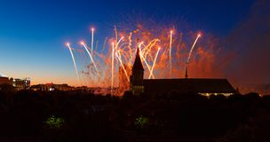 Fireworks over the Cathedral of Kant Royalty Free Stock Image