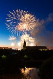Fireworks over the Cathedral of Kant. Fireworks over the cathedral on the island of Kant, Kaliningrad, Russia Royalty Free Stock Photos