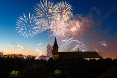 Fireworks over the Cathedral of Kant. Fireworks over the cathedral on the island of Kant, Kaliningrad, Russia Royalty Free Stock Photo