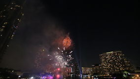 Fireworks over Chao Phraya River stock video footage