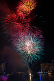 Fireworks over Chaopraya river in Bangkok Thailand Royalty Free Stock Image