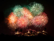 Fireworks over chedi Royalty Free Stock Images
