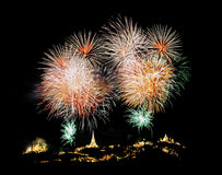 Fireworks over chedi Stock Photo