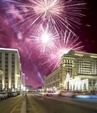 Fireworks over the Christmas and New Year holidays illumination and Four Seasons Hotel Moscow at night. Russia, Royalty Free Stock Image