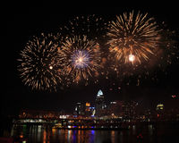 Fireworks Over Cincinnati Royalty Free Stock Images