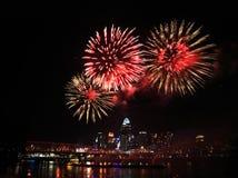 Fireworks Over Cincinnati. Fireworks Bursting Over The City Of Cincinnati And The Ohio River During The Labor Day Fireworks Show, 2013, Cincinnati Ohio, USA Royalty Free Stock Photography