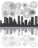 Fireworks over city stock illustration