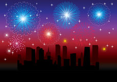 Fireworks over city. Background with fireworks over city Royalty Free Stock Images