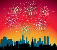 Fireworks over city. Vector fireworks over city with stars Stock Photography