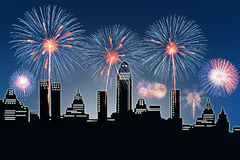 Fireworks over the city. Fireworks over the bridge in Bangkok city Royalty Free Stock Images