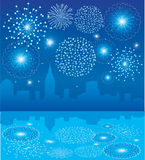 Fireworks over city. Illustration of blue fireworks over city with reflection Stock Photography