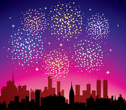 Fireworks over city. Vector fireworks over city with stars Stock Image