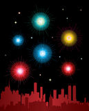 Fireworks over a city. Vector illustration of fireworks over a city Royalty Free Stock Photos
