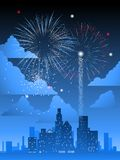 Fireworks over city Stock Images