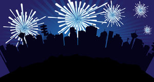 Fireworks over the city. Abstract colorful illustration with many fireworks over the buildings of a city. Party concept Royalty Free Stock Photography