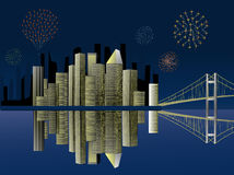 Fireworks over the city. Fireworks over a city at night by a bay Stock Image
