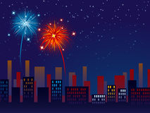 Fireworks over the city Royalty Free Stock Photos