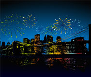 Fireworks over the city. There is in addition a vector format (EPS 8 Stock Image