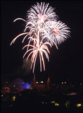 Fireworks over the city. Fireworks on whitsun in Wissembourg - Alsace - France Royalty Free Stock Photography