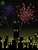 Fireworks over City. Holiday fireworks burst over a night cityscape – a raster illustration Royalty Free Stock Photo