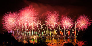 Fireworks over the city of Annecy in France for the Annecy Lake Stock Photography