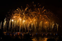 Fireworks over the city of Annecy in France for the Annecy Lake Royalty Free Stock Images