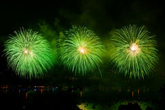 Fireworks over the city of Annecy in France for the Annecy Lake Stock Image
