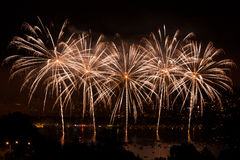 Fireworks over the city of Annecy in France for the Annecy Lake Stock Photo