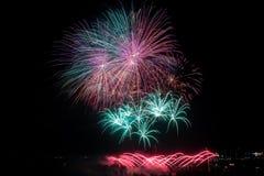 Fireworks over city bridge in Montreal stock photo