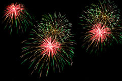 Fireworks over the city celebrate in happy festival. Royalty Free Stock Photos