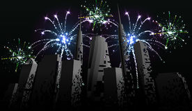 Fireworks over the city. Celebrating holidays. Light effects. Eps10. Fireworks over the city. Celebrating holidays. Light effects Stock Photos