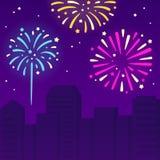 Fireworks over city vector illustration
