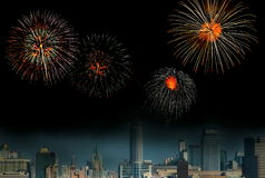 Fireworks over the city Stock Photos