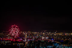 Fireworks over the city in the New Year. Almaty, Kazakhstan Stock Photography