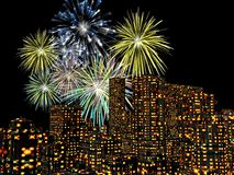 Fireworks over the city, new years. 3D illustration, background. Holiday concept Royalty Free Stock Photography