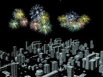 Fireworks over the city, new years. 3D illustration, background. Holiday concept Royalty Free Stock Photos