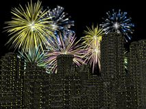 Fireworks over the city, new years. 3D illustration, background. Holiday concept Stock Photo