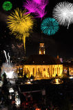 Fireworks over the city Royalty Free Stock Image